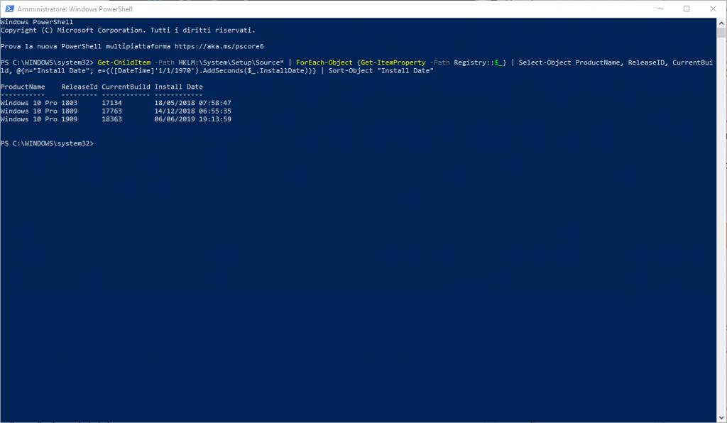 WINDOWS 10:  Data installazione del sistema operativo